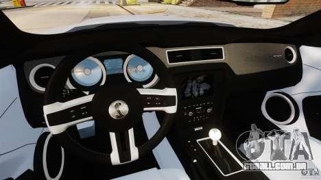 Ford Shelby GT500 2013 para GTA 4 vista de volta