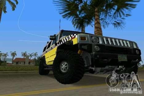 Hummer H2 SUV Taxi para GTA Vice City vista direita