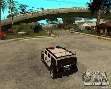 AMG H2 HUMMER SUV SAPD Police para GTA San Andreas traseira esquerda vista