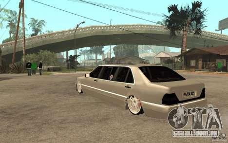 Mercedes-Benz S600 V12 W140 1998 VIP para GTA San Andreas traseira esquerda vista