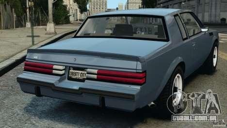 Buick GNX 1987 para GTA 4 traseira esquerda vista