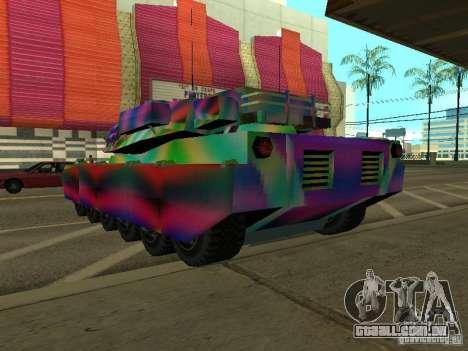 Um tanque de cor alegre para GTA San Andreas traseira esquerda vista