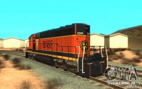 Locomotiva SD 40 da União do Pacífico BNSF para GTA San Andreas traseira esquerda vista