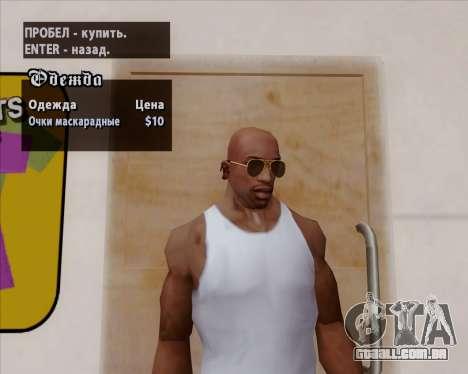 Óculos de sol aviador marrom para GTA San Andreas quinto tela