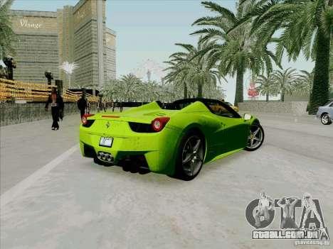 Ferrari 458 Spider para GTA San Andreas traseira esquerda vista