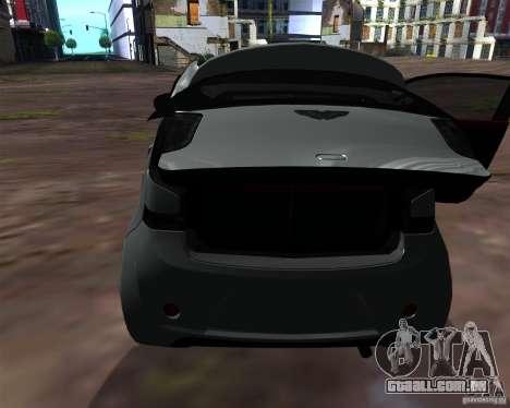 Aston Martin Cygnet para GTA San Andreas vista interior