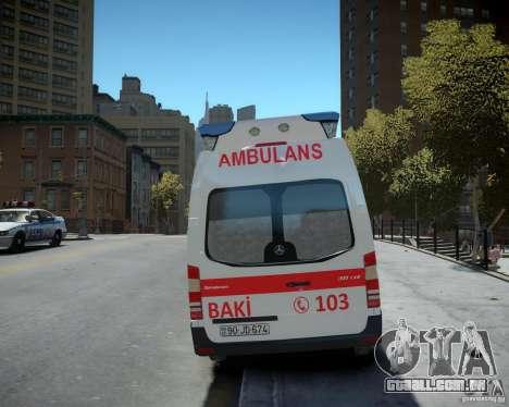 Mercedes-Benz Sprinter Azerbaijan Ambulance v0.2 para GTA 4 vista de volta