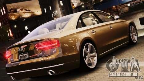 Audi A8 2010 V8 FSI para GTA 4 vista de volta