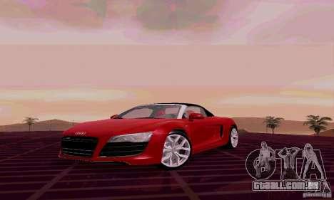 Audi R8 V10 Spyder 5.2. FSI para GTA San Andreas esquerda vista