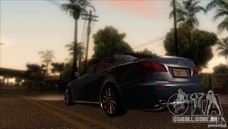 Lexus IS-F para GTA San Andreas traseira esquerda vista