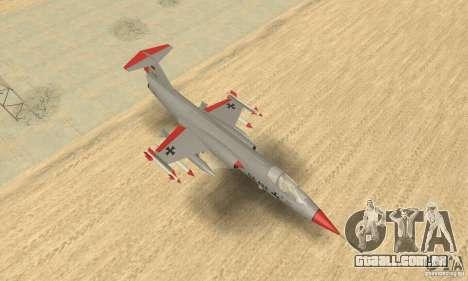 F-104 Starfighter Super (cinza) para GTA San Andreas vista direita