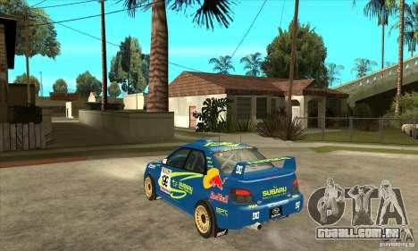 Subaru Impreza STi WRC wht2 para GTA San Andreas vista traseira