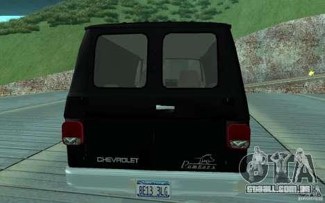 Chevrolet Van G20 1986 v2.0 para GTA San Andreas vista direita