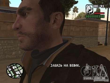 Niko Bellic para GTA San Andreas quinto tela
