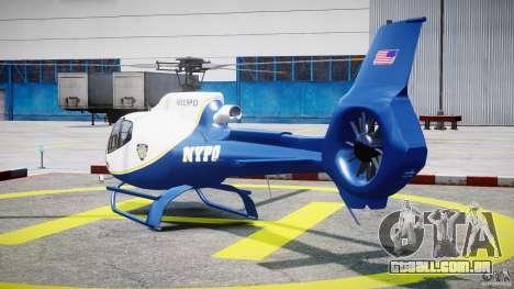 Eurocopter EC 130 NYPD para GTA 4 traseira esquerda vista