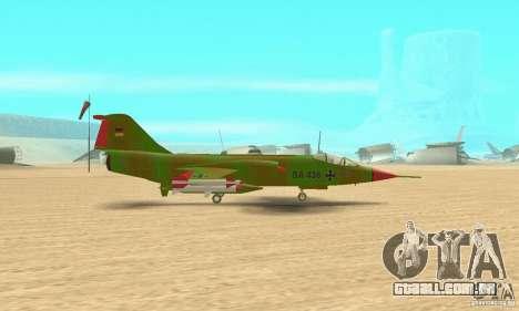 F-104 Starfighter Super (verde) para GTA San Andreas traseira esquerda vista