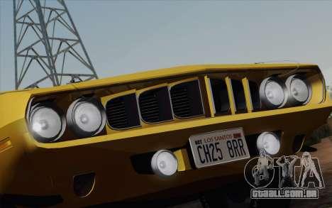 Plymouth Hemi Cuda 426 1971 para GTA San Andreas interior