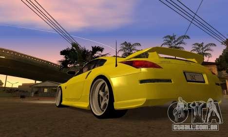 Nissan 350Z para GTA San Andreas traseira esquerda vista
