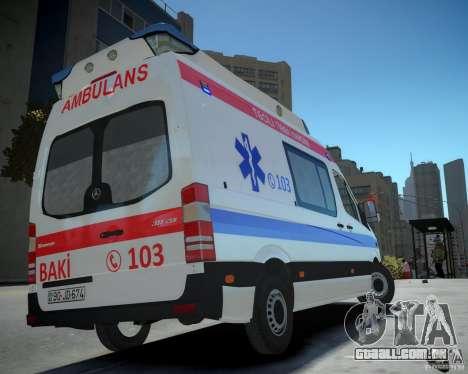 Mercedes-Benz Sprinter Azerbaijan Ambulance v0.2 para GTA 4 esquerda vista