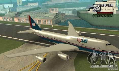 Aeronave do GTA 4 Boeing 747 para GTA San Andreas vista traseira