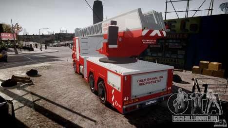 Scania Fire Ladder v1.1 Emerglights red [ELS] para GTA 4 traseira esquerda vista