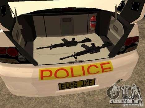 Mitsubishi Lancer EVO 8 Uk Policecar para GTA San Andreas vista traseira