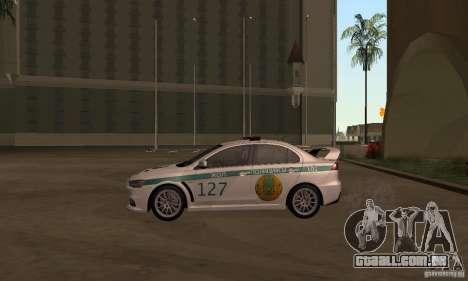 Mitsubishi Lancer Evolution X polícia do Cazaqui para GTA San Andreas traseira esquerda vista