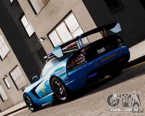 Dodge Viper SRT-10 ACR 2009 Police ELS para GTA 4 traseira esquerda vista