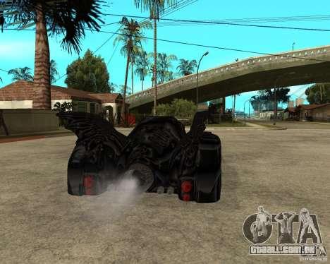 Batmobile para GTA San Andreas traseira esquerda vista