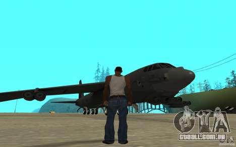 Boeing B-52 Stratofortress para GTA San Andreas traseira esquerda vista