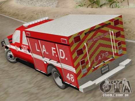 Ford F-350 Super Duty LAFD para GTA San Andreas vista interior