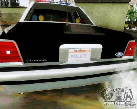 Ford Crown Victoria LTD 1991 SFPD para GTA San Andreas vista direita