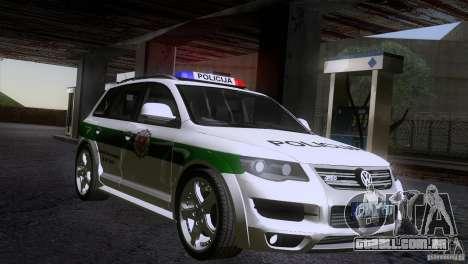 Volkswagen Touareg Policija para GTA San Andreas vista direita