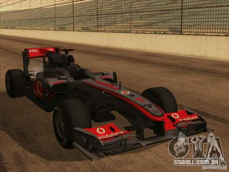 McLaren MP4-25 F1 para vista lateral GTA San Andreas