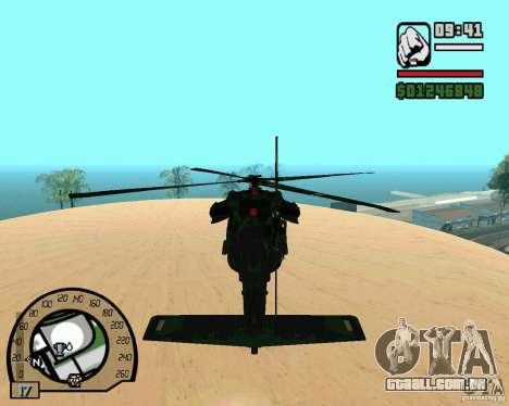 Blackhawk UH60 Heli para GTA San Andreas vista traseira