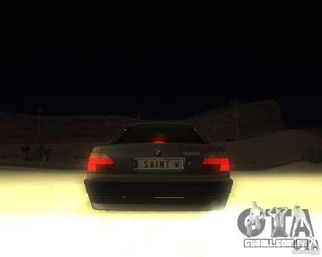 BMW 740i Update para GTA San Andreas traseira esquerda vista