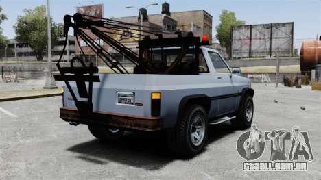 Rancher Tow Truck ELS para GTA 4 traseira esquerda vista