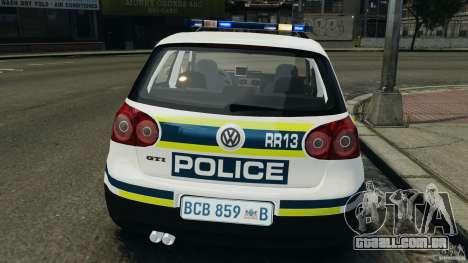 Volkswagen Golf 5 GTI South African Police [ELS] para GTA 4 vista inferior
