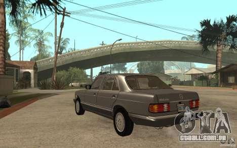 Mercedes Benz W126 560 1990 para GTA San Andreas traseira esquerda vista