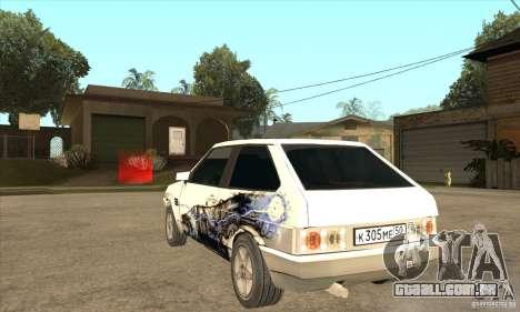 VAZ 2108 sintonizado para GTA San Andreas traseira esquerda vista