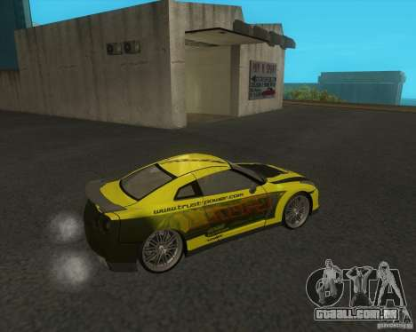 Nissan GTR35 para GTA San Andreas traseira esquerda vista