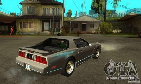 Pontiac Trans AM 1987 para GTA San Andreas vista direita