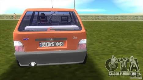 Fiat Uno para GTA Vice City vista traseira esquerda