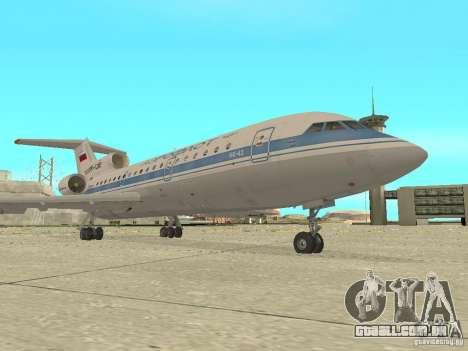 Aeroflot Yak-42 para GTA San Andreas esquerda vista