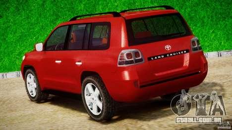 Toyota Land Cruiser 200 2007 para GTA 4 vista lateral