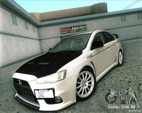 Mitsubishi Lancer Evolution X 2008 para GTA San Andreas vista direita