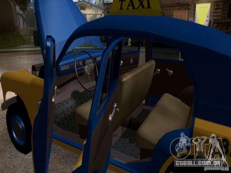 GAZ M20 Pobeda táxi para vista lateral GTA San Andreas