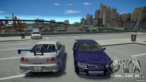 Nissan Skyline GT-R R34 Fast and Furious 4 para GTA 4 vista superior