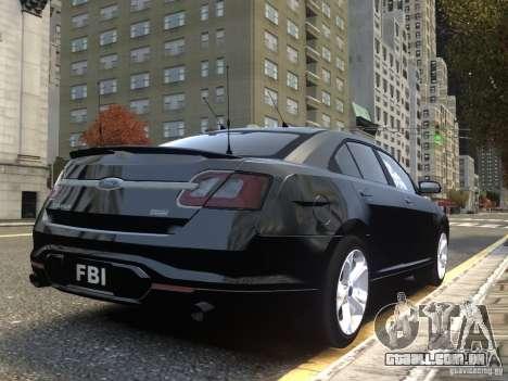 Ford Taurus FBI 2012 para GTA 4 vista de volta