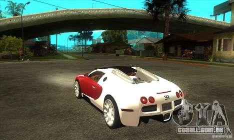 Bugatti Veyron Grand Sport para GTA San Andreas traseira esquerda vista